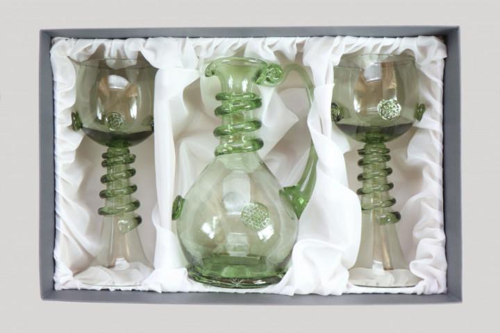 Sada karafy a dvou svatebních číší se spinou - Lesní sklo