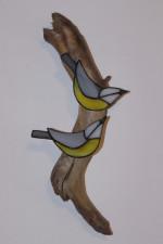 Sýkorky- dekorace na dřevě - Lesní sklo