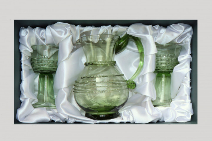 Sada džbánu se spinou a dvou pohárů s rádlovou spinou - Lesní sklo