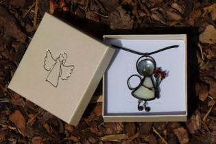 Andílek s kytičkou v dárkové krabičce - Lesní sklo