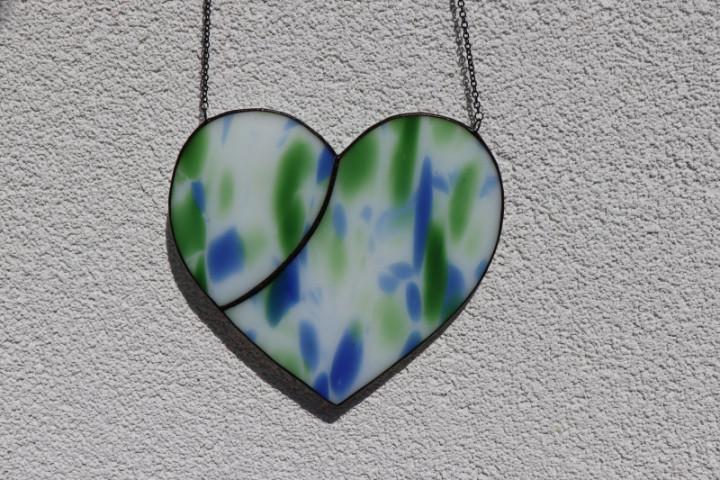 Srdce modrozelené s patinou - Lesní sklo
