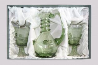 Sada karafy a dvou pohárů s malinami - Lesní sklo