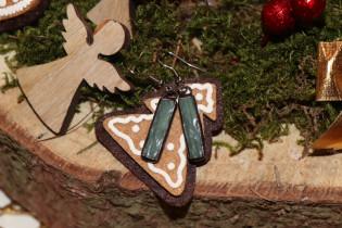 Náušnice vánoční - Lesní sklo