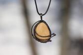 Šperk v patině s kamínkem - Lesní sklo