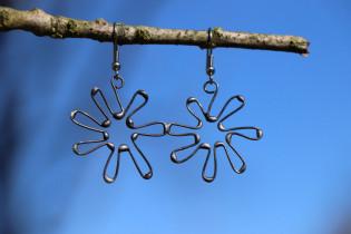 Náušnice kytička - Lesní sklo
