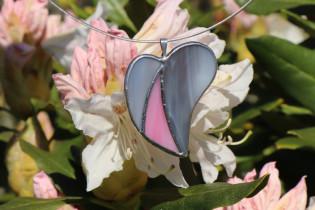 Šedo-růžové srdíčko - Lesní sklo