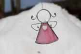 Andílek se srdíčkem růžový - Lesní sklo