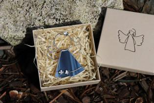 Andílek s kytičkami tmavě modrý - Lesní sklo