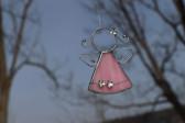 Andílek s kytičkami růžový - Lesní sklo