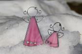 Andílek s kytičkami růžový větší - Lesní sklo