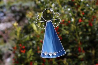 Andílek s kytičkami modrý větší - Lesní sklo