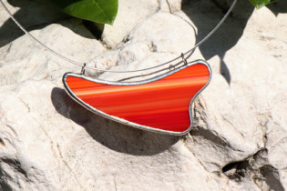 Náhrdelník pruhovaný - Lesní sklo